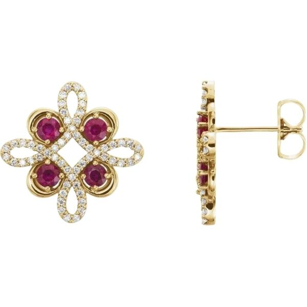 Ruby-Earrings-with-Diamonds-in-18ct-Yellow-Gold-Clover-Style-o2