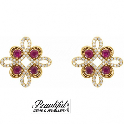 Ruby-Earrings-with-Diamonds-set-in-18ct-Yellow-Gold-(Clover-Style-Setting)-