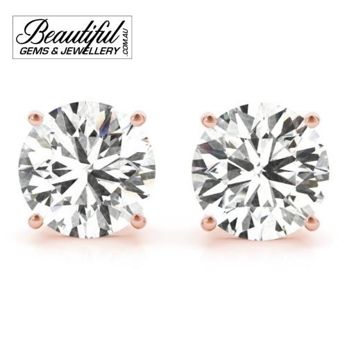 1_Carat_Diamond_Stud_Earrings_Rose_Gold_Claw_Prong_Basket_Setting_1