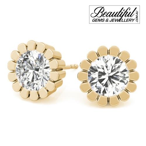 1-Carat-Diamond-Stud-Earrings-Petal-Halo-Setting-in-18ct-Yellow-Gold-1