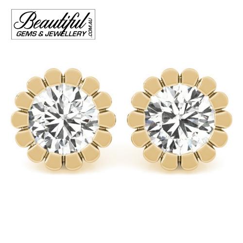 1-Carat-Diamond-Stud-Earrings-Petal-Halo-Setting-in-18ct-Yellow-Gold