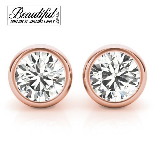 1-Carat-Diamond-Stud-Earrings-Round-Tapered-Bezel-Setting -in-18ct-Rose-Gold