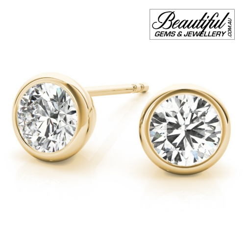 1-Carat-Diamond-Stud-Earrings-Round-Tapered-Bezel-Setting -in-18ct-Yellow-Gold-1