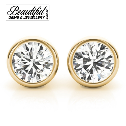 1-Carat-Diamond-Stud-Earrings-Round-Tapered-Bezel-Setting -in-18ct-Yellow-Gold