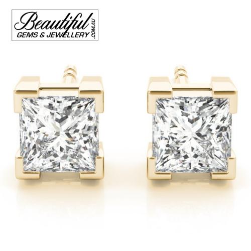 1-Carat-Princess-Diamond-Stud-Earrings-Box-Claw-Setting-in-Yellow-Gold