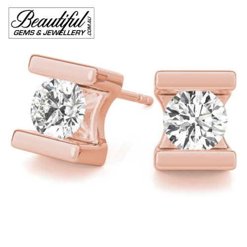 1_Carat_Diamond_Stud_Earrings_Round_Bezel_Set_in_18ct_Rose_Gold_2