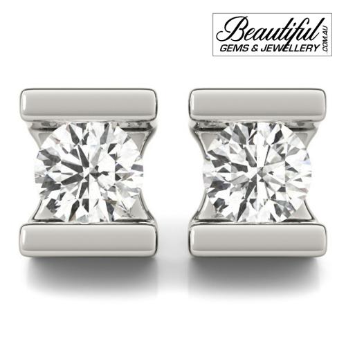 1_Carat_Diamond_Stud_Earrings_Round_Bezel_Set_in_18ct_White_Gold_1