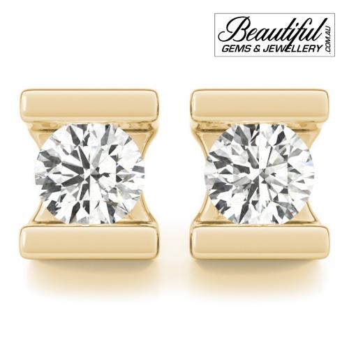 1_Carat_Diamond_Stud_Earrings_Round_Bezel_Set_in_18ct_Yellow_Gold_1