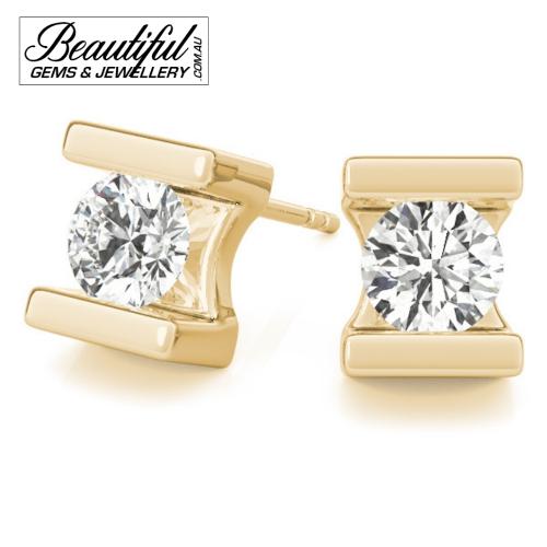 1_Carat_Diamond_Stud_Earrings_Round_Bezel_Set_in_18ct_Yellow_Gold_2